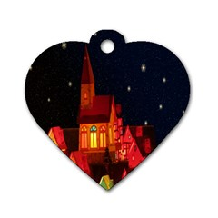 Market Christmas Light Dog Tag Heart (one Side)