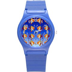 Illustration Fish Pattern Round Plastic Sport Watch (s) by Nexatart