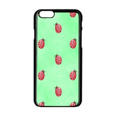 Ladybug Pattern Apple Iphone 6/6s Black Enamel Case by Nexatart