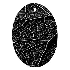 Leaf Pattern  B&w Oval Ornament (two Sides) by Nexatart