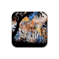 Landscape Sunset Sky Summer Rubber Coaster (square)  by Nexatart