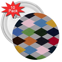Leather Colorful Diamond Design 3  Buttons (10 Pack)