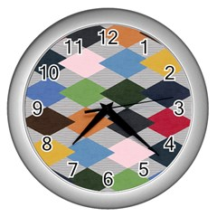 Leather Colorful Diamond Design Wall Clocks (silver)  by Nexatart