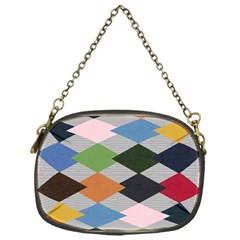 Leather Colorful Diamond Design Chain Purses (one Side)