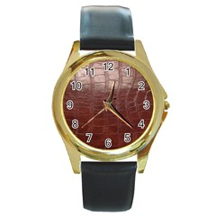 Leather Snake Skin Texture Round Gold Metal Watch by Nexatart