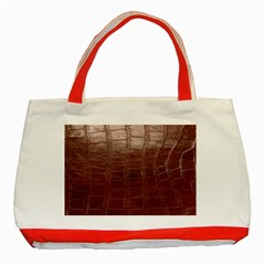 Leather Snake Skin Texture Classic Tote Bag (red) by Nexatart