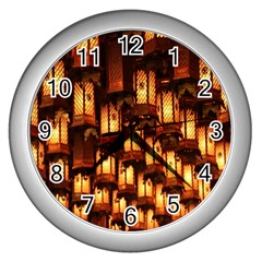 Light Art Pattern Lamp Wall Clocks (silver)  by Nexatart