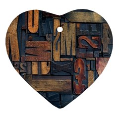 Letters Wooden Old Artwork Vintage Ornament (heart) by Nexatart