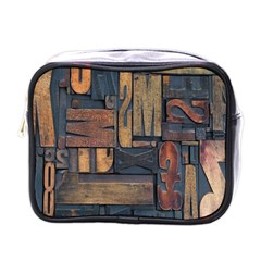 Letters Wooden Old Artwork Vintage Mini Toiletries Bags by Nexatart
