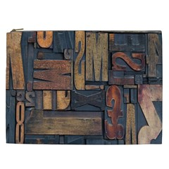 Letters Wooden Old Artwork Vintage Cosmetic Bag (xxl)