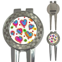 Love Hearts Shapes Doodle Art 3 In 1 Golf Divots by Nexatart