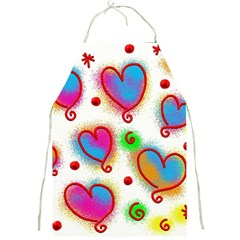 Love Hearts Shapes Doodle Art Full Print Aprons by Nexatart