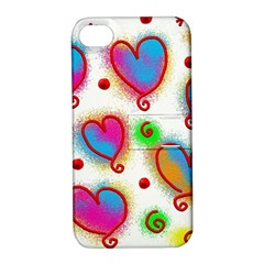 Love Hearts Shapes Doodle Art Apple Iphone 4/4s Hardshell Case With Stand