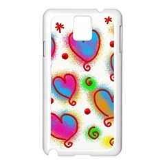 Love Hearts Shapes Doodle Art Samsung Galaxy Note 3 N9005 Case (white) by Nexatart
