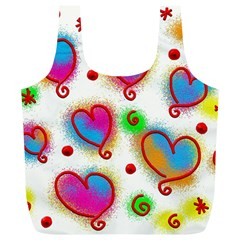 Love Hearts Shapes Doodle Art Full Print Recycle Bags (l)  by Nexatart