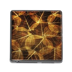 Leaves Autumn Texture Brown Memory Card Reader (square) by Nexatart