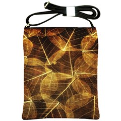 Leaves Autumn Texture Brown Shoulder Sling Bags by Nexatart