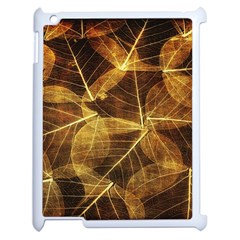 Leaves Autumn Texture Brown Apple Ipad 2 Case (white) by Nexatart