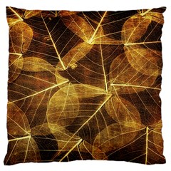 Leaves Autumn Texture Brown Large Cushion Case (two Sides) by Nexatart