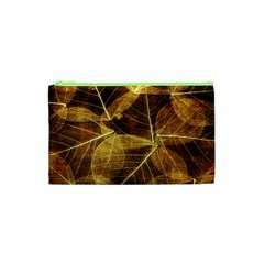 Leaves Autumn Texture Brown Cosmetic Bag (xs) by Nexatart