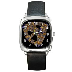 Machine Gear Mechanical Technology Square Metal Watch by Nexatart