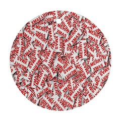 Merry Christmas Xmas Pattern Round Ornament (two Sides) by Nexatart