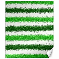 Metallic Green Glitter Stripes Canvas 20  X 24