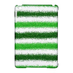 Metallic Green Glitter Stripes Apple Ipad Mini Hardshell Case (compatible With Smart Cover) by Nexatart