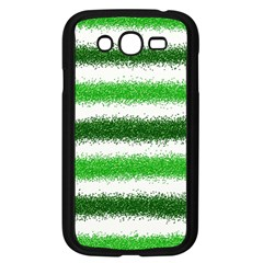 Metallic Green Glitter Stripes Samsung Galaxy Grand Duos I9082 Case (black) by Nexatart