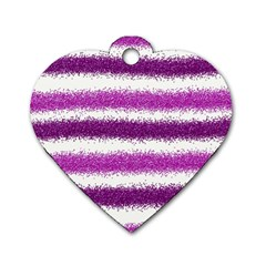 Metallic Pink Glitter Stripes Dog Tag Heart (one Side)