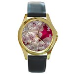 Morocco Motif Pattern Travel Round Gold Metal Watch Front