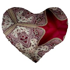 Morocco Motif Pattern Travel Large 19  Premium Flano Heart Shape Cushions by Nexatart
