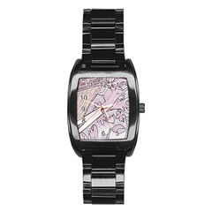 Newspaper Patterns Cutting Up Fabric Stainless Steel Barrel Watch by Nexatart