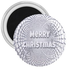 Oints Circle Christmas Merry 3  Magnets by Nexatart