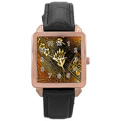 Orange Paper Patterns For Scrapbooking Rose Gold Leather Watch  by Nexatart