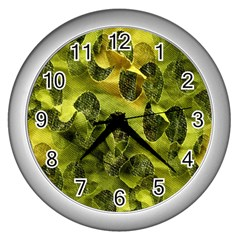 Olive Seamless Camouflage Pattern Wall Clocks (silver)  by Nexatart