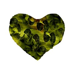 Olive Seamless Camouflage Pattern Standard 16  Premium Flano Heart Shape Cushions by Nexatart
