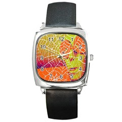 Orange Guy Spider Web Square Metal Watch by Nexatart