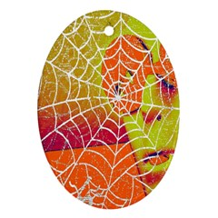 Orange Guy Spider Web Oval Ornament (two Sides)