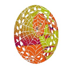 Orange Guy Spider Web Oval Filigree Ornament (two Sides) by Nexatart