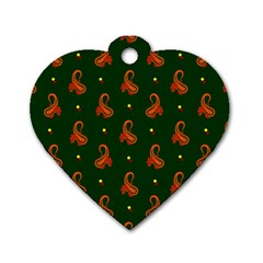 Paisley Pattern Dog Tag Heart (one Side) by Nexatart