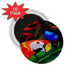 Papgei Red Bird Animal World Towel 2 25  Magnets (10 Pack)