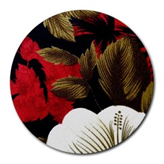 Paradis Tropical Fabric Background In Red And White Flora Round Mousepads