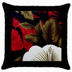 Paradis Tropical Fabric Background In Red And White Flora Throw Pillow Case (black) by Nexatart