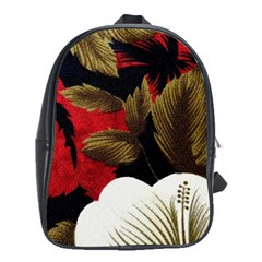 Paradis Tropical Fabric Background In Red And White Flora School Bags(large)  by Nexatart