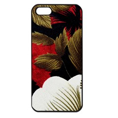 Paradis Tropical Fabric Background In Red And White Flora Apple Iphone 5 Seamless Case (black)
