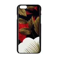 Paradis Tropical Fabric Background In Red And White Flora Apple Iphone 6/6s Black Enamel Case by Nexatart