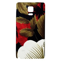 Paradis Tropical Fabric Background In Red And White Flora Galaxy Note 4 Back Case by Nexatart