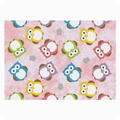 Owl Bird Cute Pattern Large Glasses Cloth (2 Side) by Nexatart