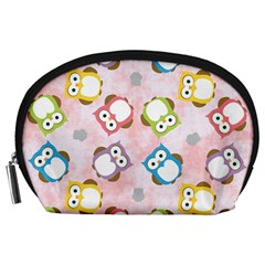 Owl Bird Cute Pattern Accessory Pouches (large)  by Nexatart